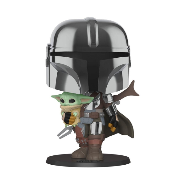 Star Wars The Mandalorian Super Sized POP! figurine The Mandalorian holding The Child